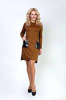 Стильное женское платье с карманами из кожзама