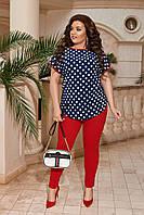Стильный женский костюм: блуза в горошек и зауженные красные брюки, супер батал большие размеры