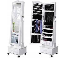 Зеркало шкаф для бижутерии с ящиком на колесах