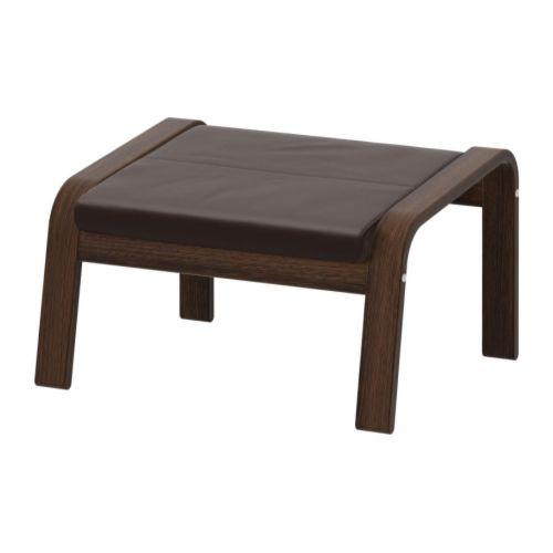 """IKEA """"ПОЭНГ"""" Табурет для ног, коричневый, натуральная кожа, темно-коричневый"""