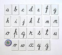 Строчные прописные буквы английского алфавита. Пластиковые карточки для наборного полотна
