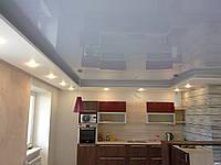 Натяжной потолок Кухня 12 м.кв. Белый глянец