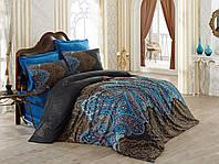 Набор постельного белья сатин  200х220 Cotton box Royal Saten DIBA KAHVE, коричневый/синий.