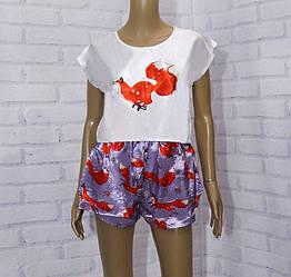 Комплект летний женский: футболка с коротким рукавом+шорты, рисунок Лисы,  SAIMEIQI (размер L)
