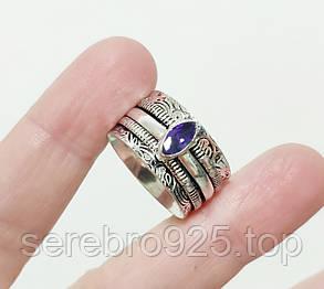 Кольцо с натуральным аметистом 19 р., фото 2
