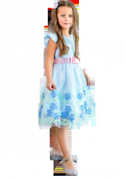 Праздничное голубое платье для девочки