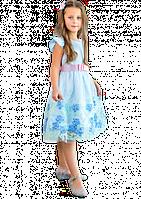 Праздничное голубое платье для девочки, фото 1
