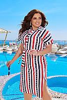 Летнее хлопковое платье-рубашка в полоску с пояском и разрезами по бокам, батал большие размеры