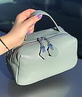Сумка женская кожаная стильная серо-голубая FM3919A, фото 5