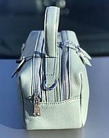 Сумка женская кожаная стильная серо-голубая FM3919A, фото 6
