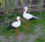 Пара аистов для сада, семья аистов садовый декор (50х42 см, керамика + металл), фото 2