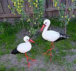 Пара аистов для сада, семья аистов садовый декор (50х42 см, керамика + металл), фото 3