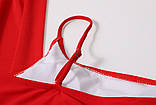 Стильний жіночий купальник на одне плече трійка - червоний, чорний, фото 4