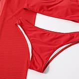 Стильний жіночий купальник на одне плече трійка - червоний, чорний, фото 8