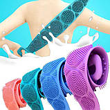 Силиконовая мочалка-массажер двухсторонняя для тела Silica Gel Bath Brush Розовая, фото 5