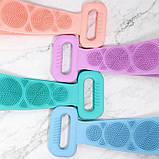 Силіконова щітка для душу Silicon bath towel Бірюзова, фото 4