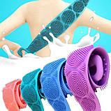 Силіконова щітка для душу Silicon bath towel Бірюзова, фото 6