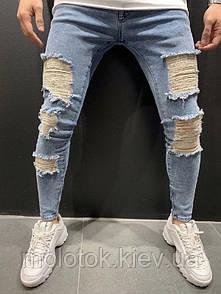 Мужские зауженные джинсы рваные Турция