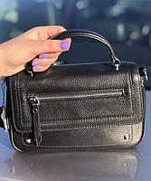 Сумка женская кожаная стильная черная FM3005A, фото 4