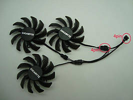 Вентиляторы EverFlow 3шт 75мм 12В 4пин T128010SU GTX 980 1060 1070 1080 T128010SL FY08010H12LPAPLD08010S12HH