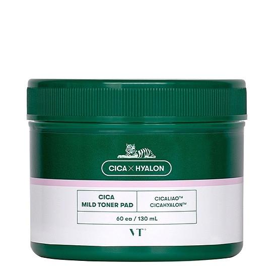 Заспокійливі тонізуючі пади з центеллой VT Cosmetics Cica Mild Toner Pad 130 ml 60 шт