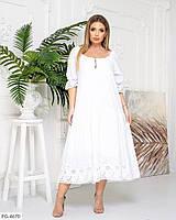 Нежное белое расклешенное льняное платье с вышитым рисунком прошвой Размер: 48-54, 56-62арт. 05489