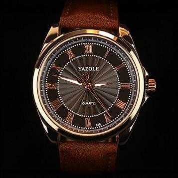 Люксові чоловічі годинники з коричневим ремінцем код 293 Уцінка