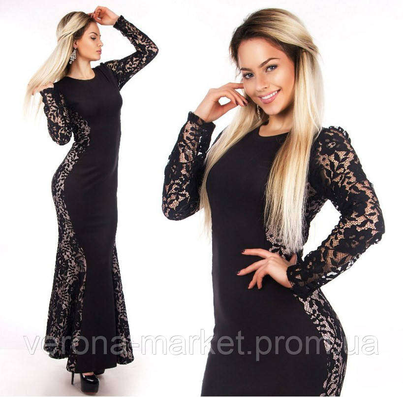 8651a131bb8d6a2 Шикарное облегающее женское платье в пол со вставками гипюра рукав длинный  Турецкий дайвинг - Интернет-