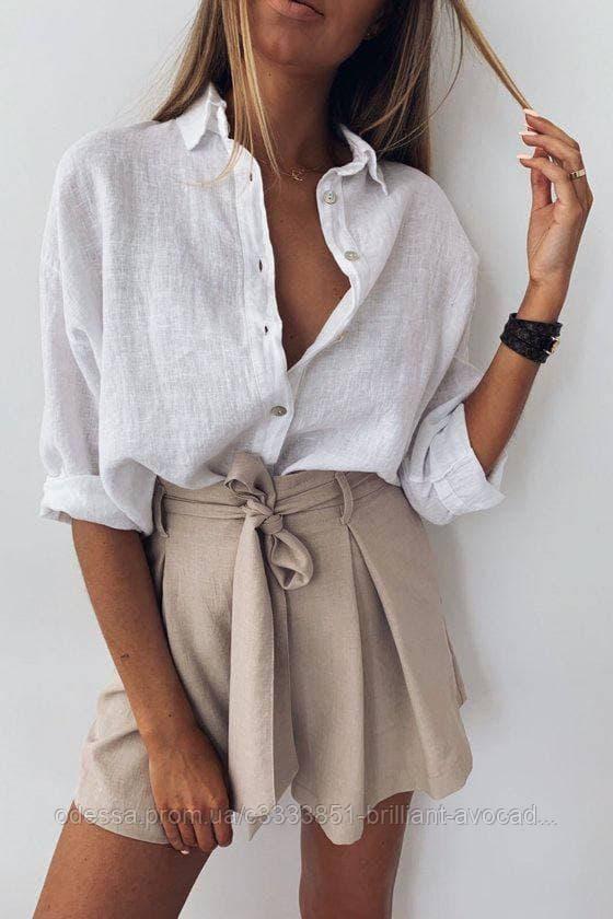 Женская летняя льняная свободная оверсайз рубашка