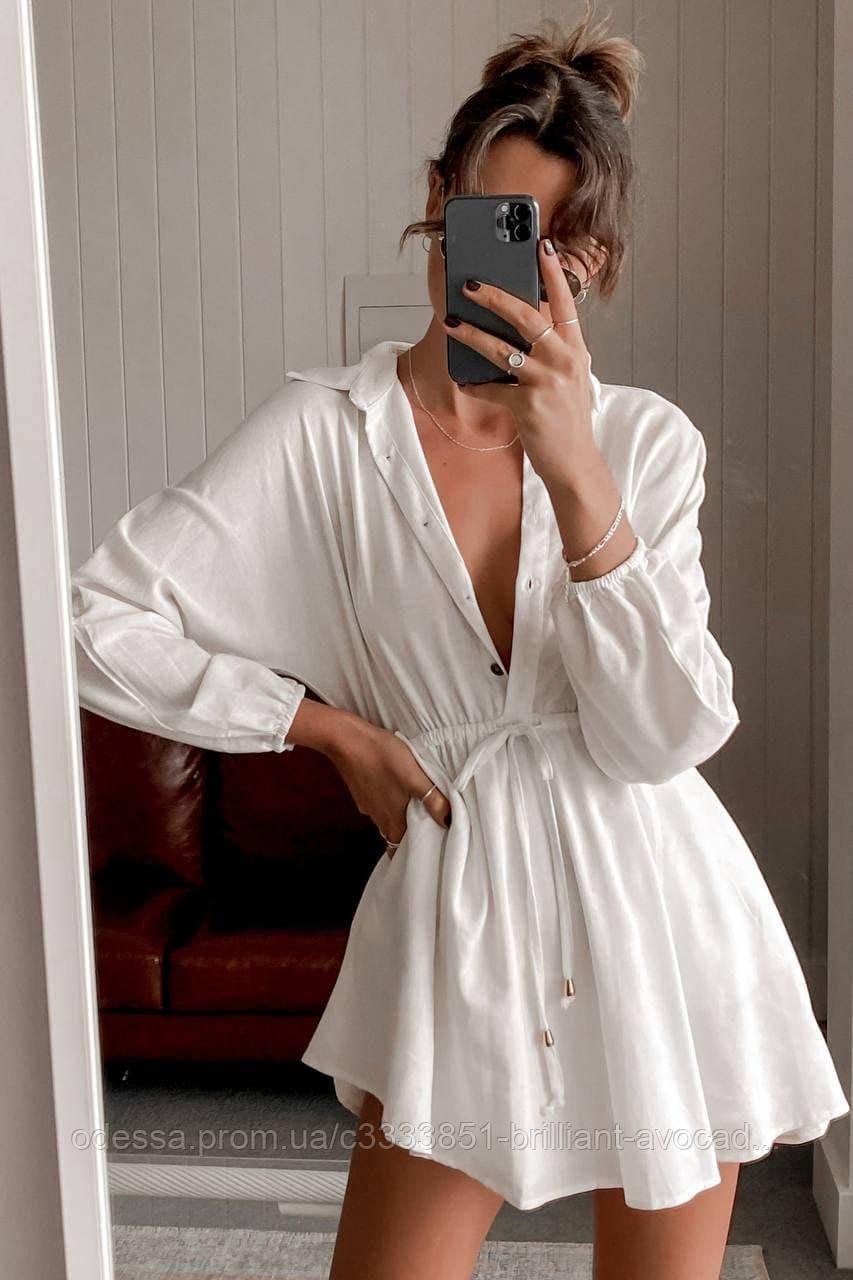 Женское модное льняное платье - рубашка с затяжкой на талии