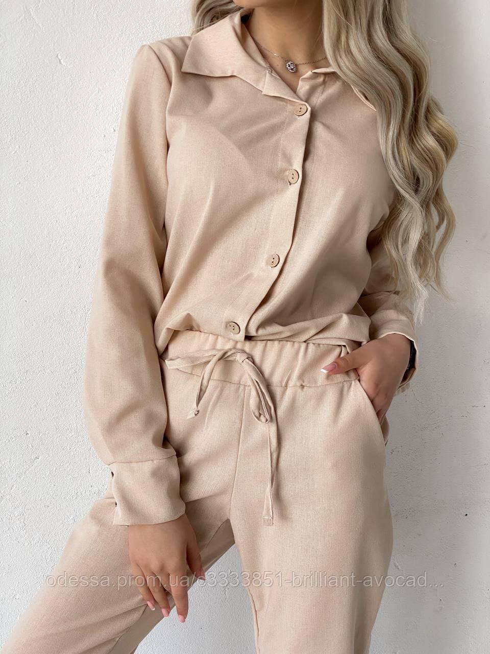 Женский модный льняной костюм рубашка и штаны