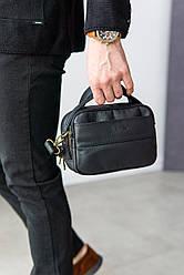 """Мужская сумка- барсетка из натуральной кожи от ТМ """"ArtMar"""", цвет черный, 20-14-7 см"""