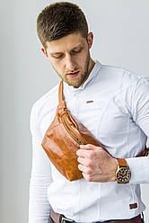 """Мужская поясная сумка из мягкой телячьей кожи от ТМ""""ArtMar"""" / 16-33x17x1 см / цвет рыжий"""