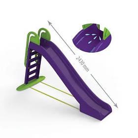 Детская пластиковая фиолетовая горка для улицы, размеры1140x240x243 мм