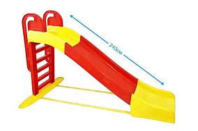 """Детская пластиковая красно-желтая горка для улицыТМ """"Doloni"""", размер 2.43x0,32х1,51см"""