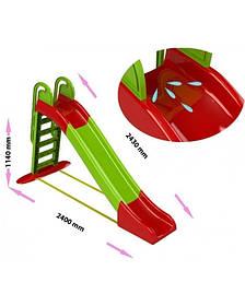 """Детская пластиковая красно-зеленая горка для улицыТМ """"Doloni"""", размер 1140x240x243 мм"""