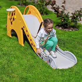 Детская пластиковая желтая горка для улицы GIRAFE-6 с баскетбольным кольцом,размеры158x39x54 мм