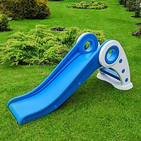Детская пластиковая синя горка для улицы, размеры42x127x56 см