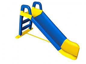 """Детская пластиковая голубо-желтая горка для улицыТМ """"Doloni"""", размер 60x40x95см"""