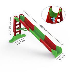 """Детская пластиковая красно-зеленая горка для улицыТМ """"Doloni"""", размер 4,5x1,5см"""