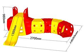 """Детская пластиковая красно-желтая горка для улицы с тунелем ТМ """"Doloni"""""""