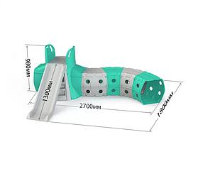 """Детская пластиковая бирюзовая горка для улицы с тунелем ТМ """"Doloni"""""""