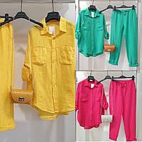 Костюм женский, брючный, льняной, модный, легкий, повседневный, свободная рубашка и брюки, яркий, до 52 р-ра
