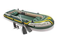 Надувная лодка Seahawk 4 с алюминиевыми веслами и насосом до 400кг SKL82-292199