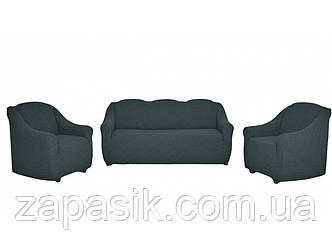 Жаккардовые Чехлы На Диван и 2 Кресла без Оборки Универсальный Размер Набор 432