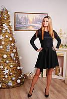 Платье женское с воротником черное