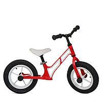 Детский Беговел Profi, регулировка сиденья,резиновые надувные колеса 12 дюймов с подшипниками, красный-белый