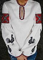 Вышиванка белая с черными петухами и малиновой вышивкой