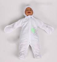Человечек и шапочка байка Мишка с сердечками (от рождения до 3х месяцев) Цвета в ассортименте белый