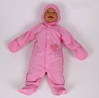 Человечек и шапочка байка Мишка с сердечками (от рождения до 3х месяцев) Цвета в ассортименте розовый